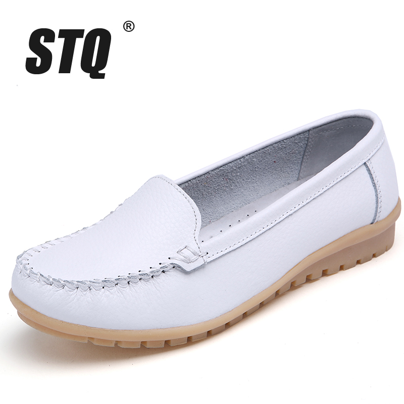 STQ 2019 Autumn Women Flats Shoes Women Genuine Leather Shoes Woman Cutout Loafers Slip On Ballet Flats Ballerines Flats 169