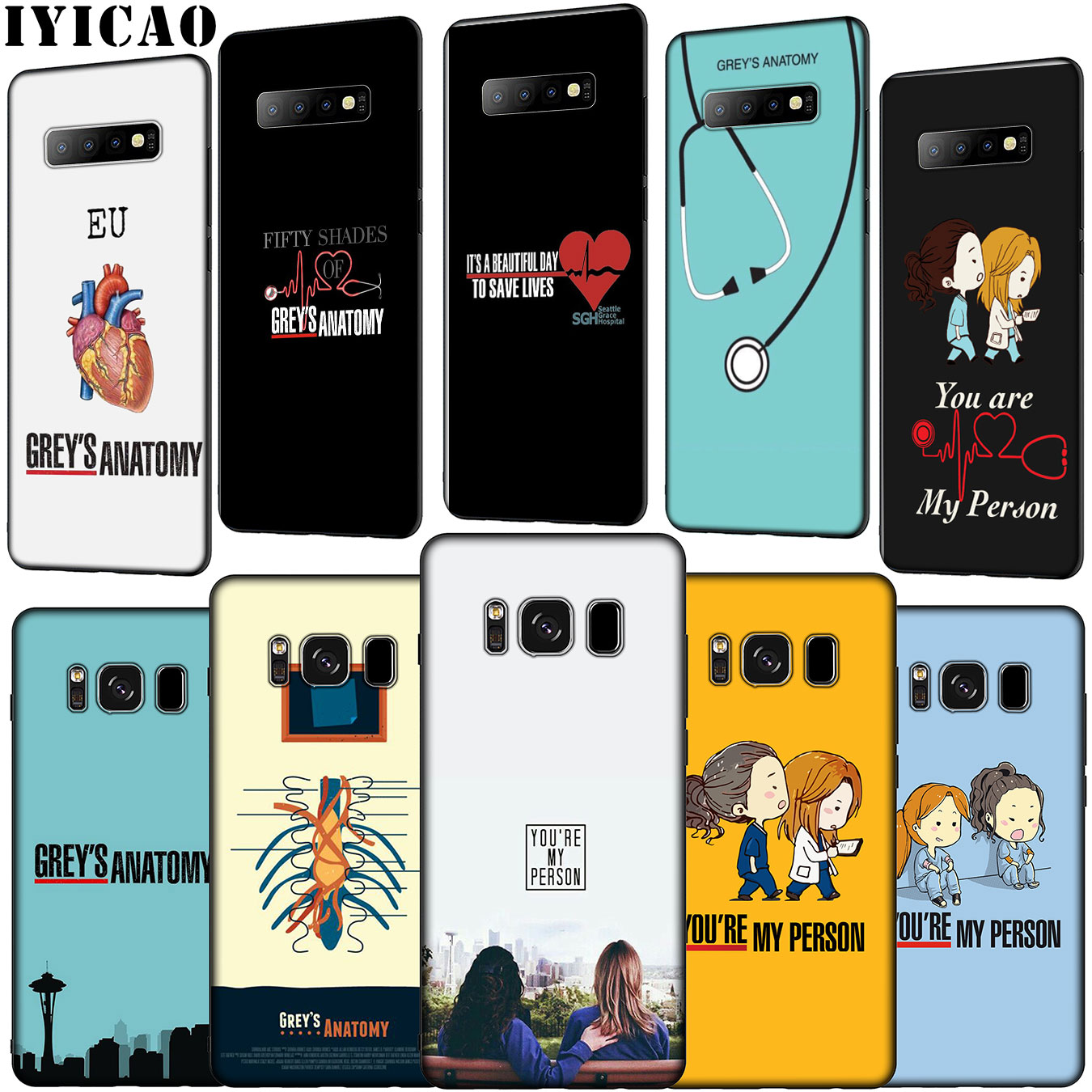 IYICAO <font><b>Greys</b></font> <font><b>Grey's</b></font> <font><b>Anatomy</b></font> Soft Silicone Phone <font><b>Case</b></font> for Samsung Galaxy S10 E S9 S8 Plus S6 S7 Edge S10e TPU Black Cover image