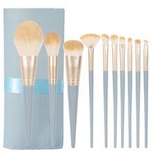 Набор профессиональных кистей для макияжа кисточки с синей деревянной