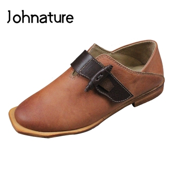 Johnature Genuine Leather Women Shoes 2020 New Autumn Retro Hook & Loop Round Toe Sewing Flats Casual Handmade Ladies Shoes