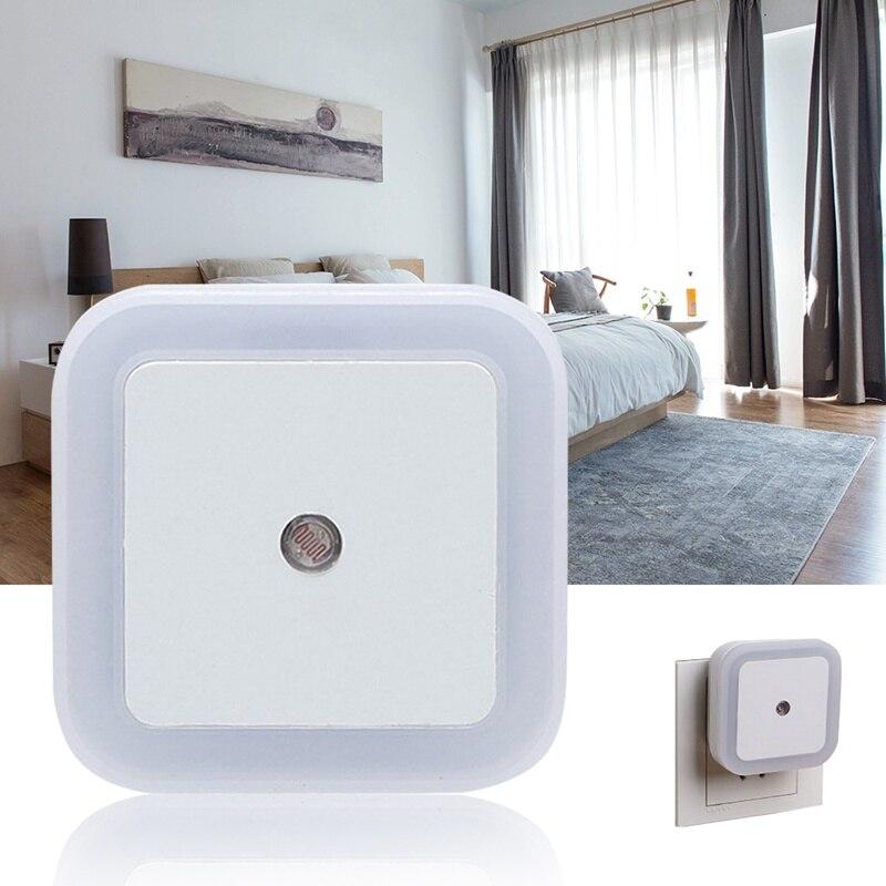 Enchufe europeo/estadounidense Auto Mini Sensor de luz nocturna de Control Novedad LED lámpara de pared del dormitorio cuadrada para niños bebés regalo romántico|Luces de noche LED|   - AliExpress