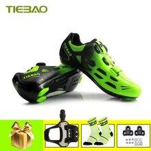 Tiebao-zapatillas de Ciclismo con autosujeción para hombre y mujer, pedales profesionales transpirables para Ciclismo de carretera, Zapatillas para equitación
