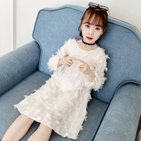 Girls Cute White Dress 2019 Autumn Spring New Fashion Long Sleeve Round Feather Dresses Children Clothing Princess Vestido Roupa