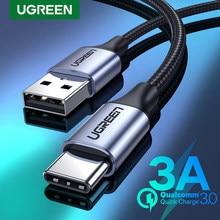 Ugreen usb c cabo para xiaomi redmi nota 10 usb tipo c 3a cabo de carregamento do telefone rápido para huawei p40 pro tipo c carregador cabo usb c
