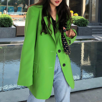 [EWQ] Autumn 2021 Tide Notched Single-breasted Green Full Loose Suit Fashion Big Pocket Coat High quality office lady blazer