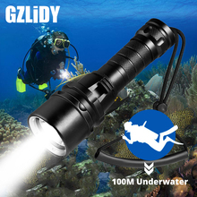 Powerful LED Diving Flashlight Super Bright T6/L2 Professional Underwater Torch IP68 Waterproof rating Lamp Using 18650 Battery jiguoor super bright led flashlight ipx 8 waterproof q8 4x xp l 5000lm powerful professional multiple operation procedure 18650