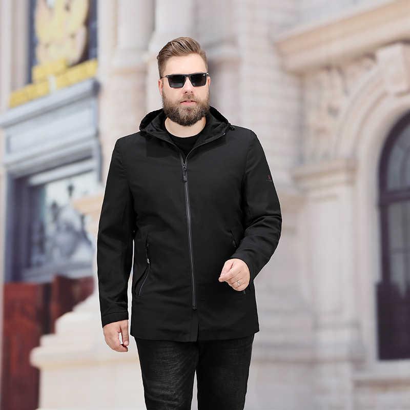 2020 yeni bahar ve sonbahar yüksek kaliteli büyük artı boyutu 8xl 7xl erkek ceket rahat gevşek var şapka süper büyük sizej acket