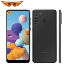 Original samsung galaxy a21 octa núcleo 6.5 polegadas 3gb ram 32gb rom 16mp quad câmera lte android smartphone desbloqueado celular