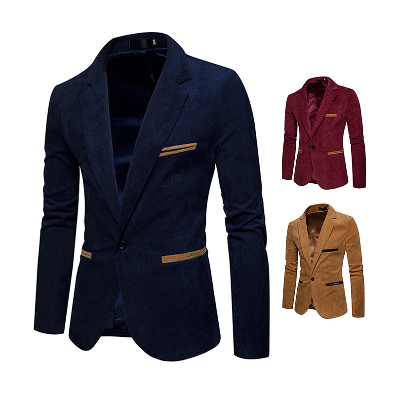 2019 Spring New Style Fashion Men'S Wear Men Corduroy Matching Color Casual Small Suit Coat Jacket X03