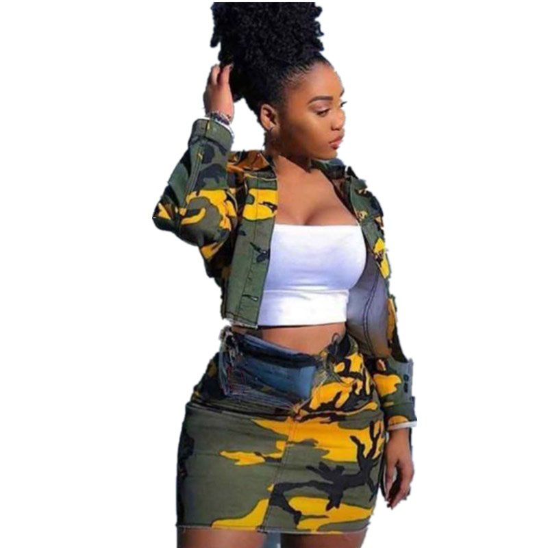 2019 Autumn Women Short Coat Mini Skirt Office Lady 2 Piece Set Casual Camouflage Denim Outfits Pockets Club Matching Sets