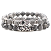 Gray Lava Natural Stone Beads Bracelets For Women Vintage Design Volcanic Rock Silver Night Owl Bead Strand Bracelet Men Jewelry vintage layered owl beads bracelet for women