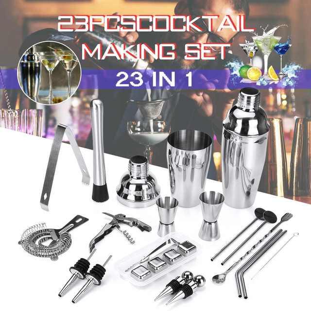 23Pcs/Set Cocktail Shaker Mixer Set Stainless Steel Drinks Strainer Bottle Opener Maker poon Measure Cup Bar Bartender Tool Kit