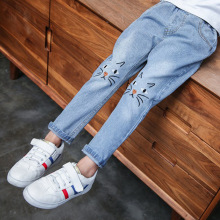 Cartoon Cat Kids Jeans 2019 Ripped for Childrens Wear Girls Leggings New 4-12Y Casual Pants