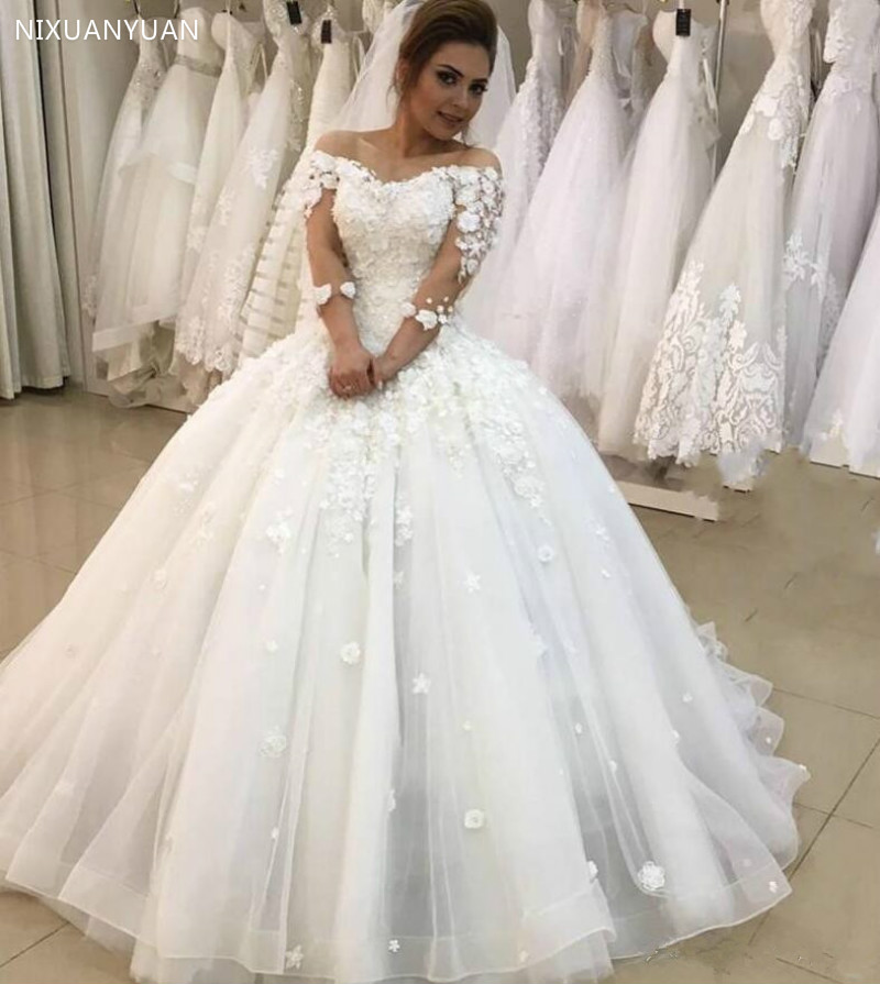 Sexy 3D-Floral Ball Gown Wedding Dresses 2020 3/4 Sleeves Plus Size Arabic African Vestido De Novia Princess Bridal Gown