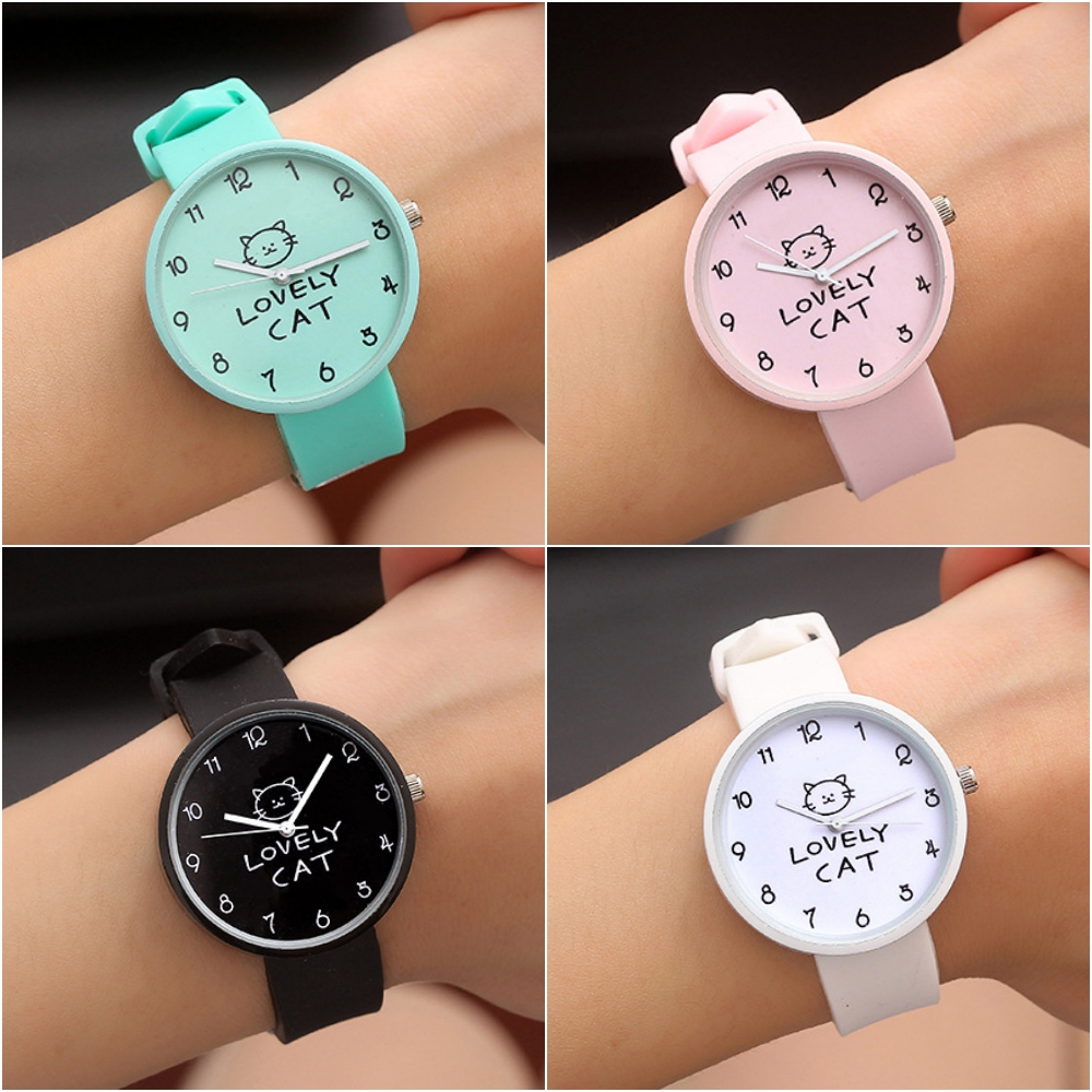 1 Pcs Cartoon Lovely Cat Font Round Shape Children Watches Kids Wrist Quartz Watch Silicone Strap Student Clock Birthday Gift