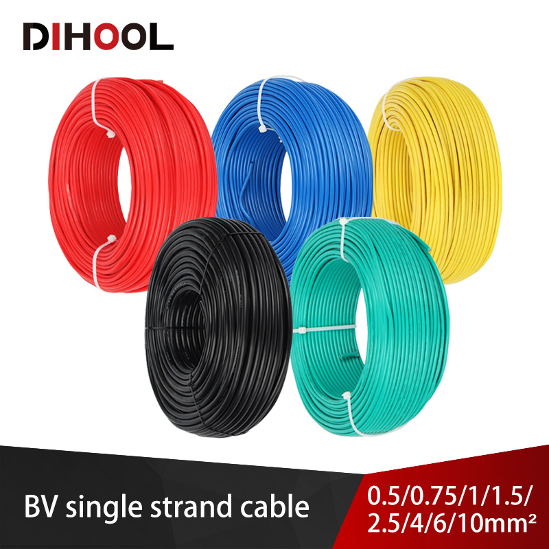 Bv 20/19/18/16/14/12/10/8 awg único núcleo sólido núcleo fio de cobre pvc colorido cabo chama retardador fixo fiação elétrica