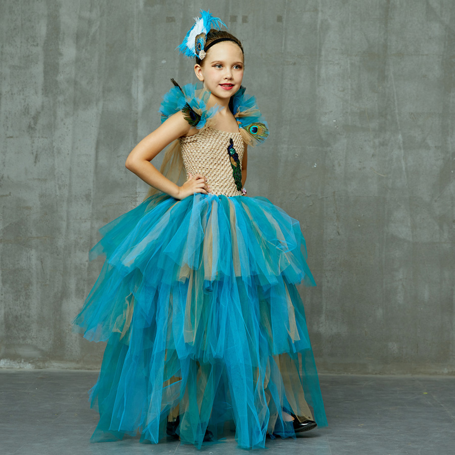 LIMITED EDITION Luxury Girls Peacock Tutu Dress with Matching Headband Multi-layer Kids Pageant Tulle Ball Gowns Peacock Costume (13)