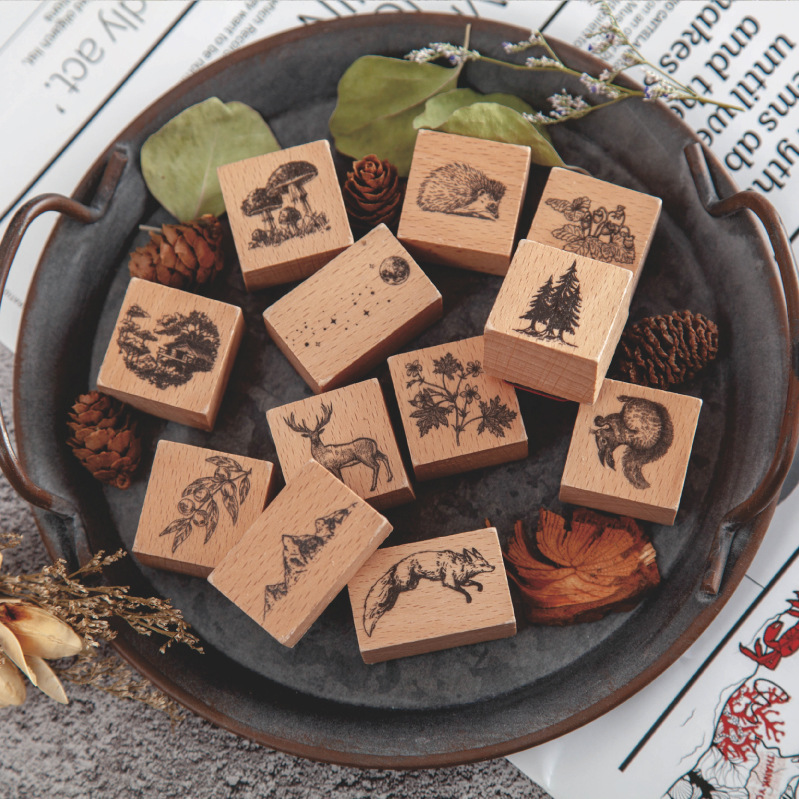 Vintage The Story In The Forest Log Rubber Seal Cute Animal Stamps Wood Clear Stamps For Scrapbooking Photo Album Decoration DIY