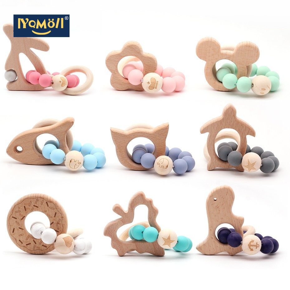 1pc Baby Toys  Bracelet, New Year Gift Wooden Toy Pacifier Holder And Tooth Gel Chew Food Quality Baby  Chupete Silicone Beads