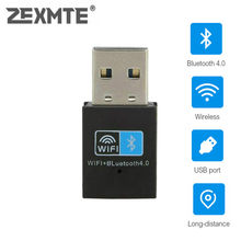 Zexmte Usb Wifi Bluetooth 4.0 Adapter Dongle, 150M Draadloze Wifi Netwerk Lan Card + Bluetooth V4.0 Adapter Voor Desktop Laptop Pc