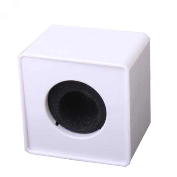 <font><b>2x</b></font> White ABS Mic Microphone Interview Square <font><b>Cube</b></font> Logo Flag Station 39mm Hole image