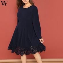 Womail 2019 hiver grande taille femmes femmes robes évider o-cou à manches longues Fashional grande taille femmes robe Vestidos ST04(China)