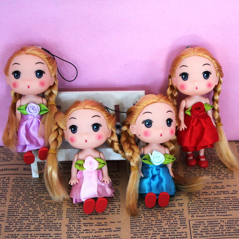 Mini Baby Kids Girl Plush Dolls Key Chain Plastic Plush Keyring Decoration Toys