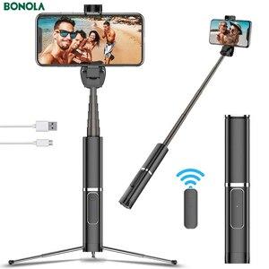 Image 2 - Bonola Draagbare Geïntegreerde Statief Selfie Stok Verborgen Telefoon Beugel Bluetooth Knop Telefoon Zelfontspanner Hendel Houder Voor Telefoon