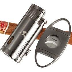 COHIBA akcesoria cygarowe zestaw metalowy palnik gazowy ostry cygaro ze stali nierdzewnej zapalniczka do cięcia tytoniu zapalniczka do cygar zestaw do cięcia