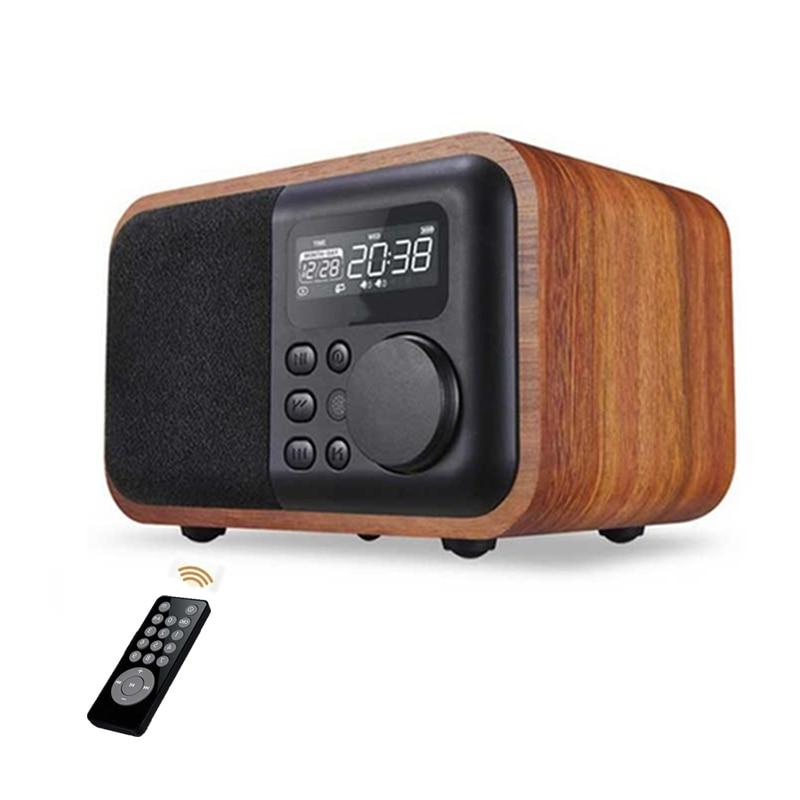 Haut-parleur Bluetooth en bois télécommandé avec Radio FM réveil affichage temps Support USB TF carte jouer en bois Subwoofe haut-parleur