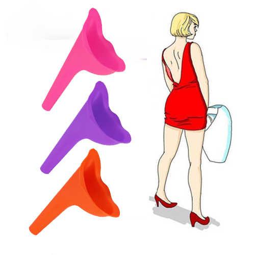 ออกแบบใหม่ผู้หญิงปัสสาวะเดินทางกลางแจ้ง Camping Soft ซิลิโคน Stand Up & Pee หญิงปัสสาวะห้องน้ำ