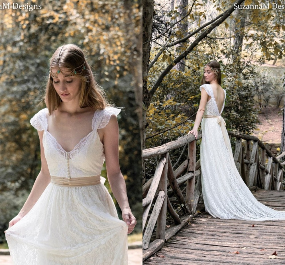 Ivory Bohemian Beautiful Lace Boho Bridal Gown Cap Sleeves Backless Gypsy 2018 Vestido De Novia Mother Of The Bride Dresses