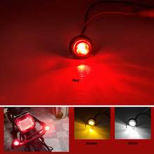 """2 pces moto mini âmbar 3/4 """"round side 3 led moto luz traseira marcador de reboque do carro luz da bala sinais de volta caminhão luz lateral"""