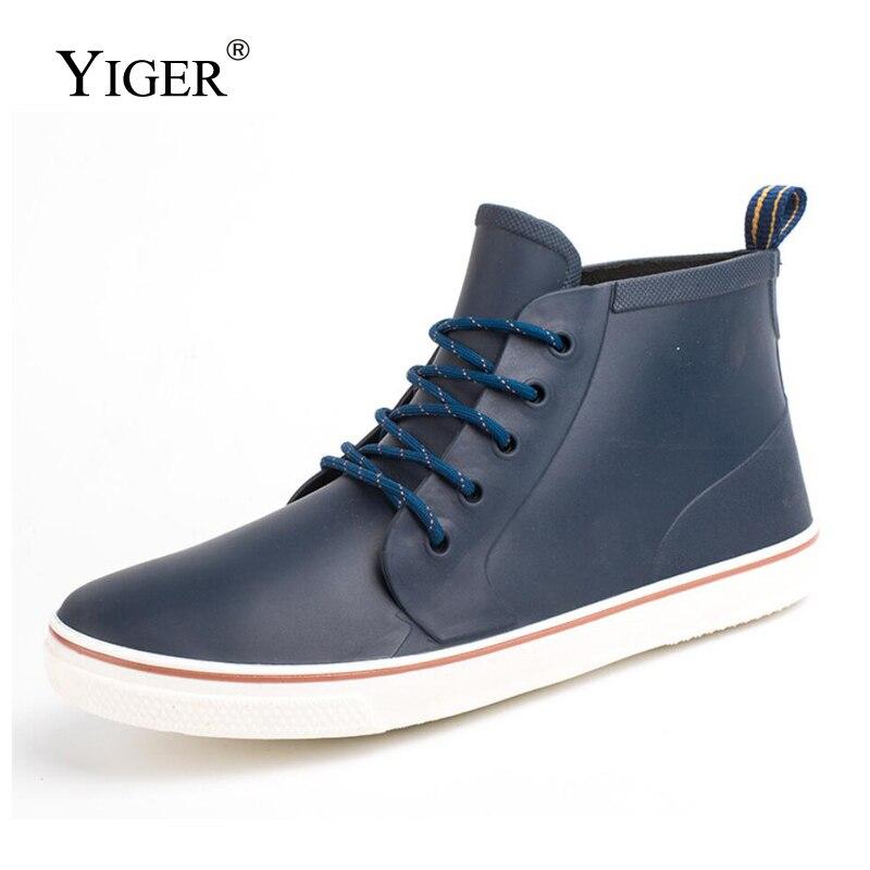 YIGER New Men Rain boots Non-slip Water shoes Fishing shoes male Lace-up Casual PVC Rain shoes Brand outside men rain boots