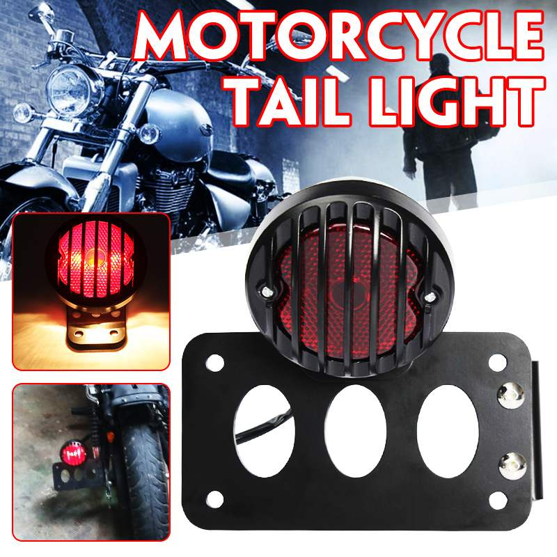 Motorcycle Rear Brake Lights Tail Stop Lamp License Plate Frame Metal Mount Bracket For Harley/Sportster Chopper