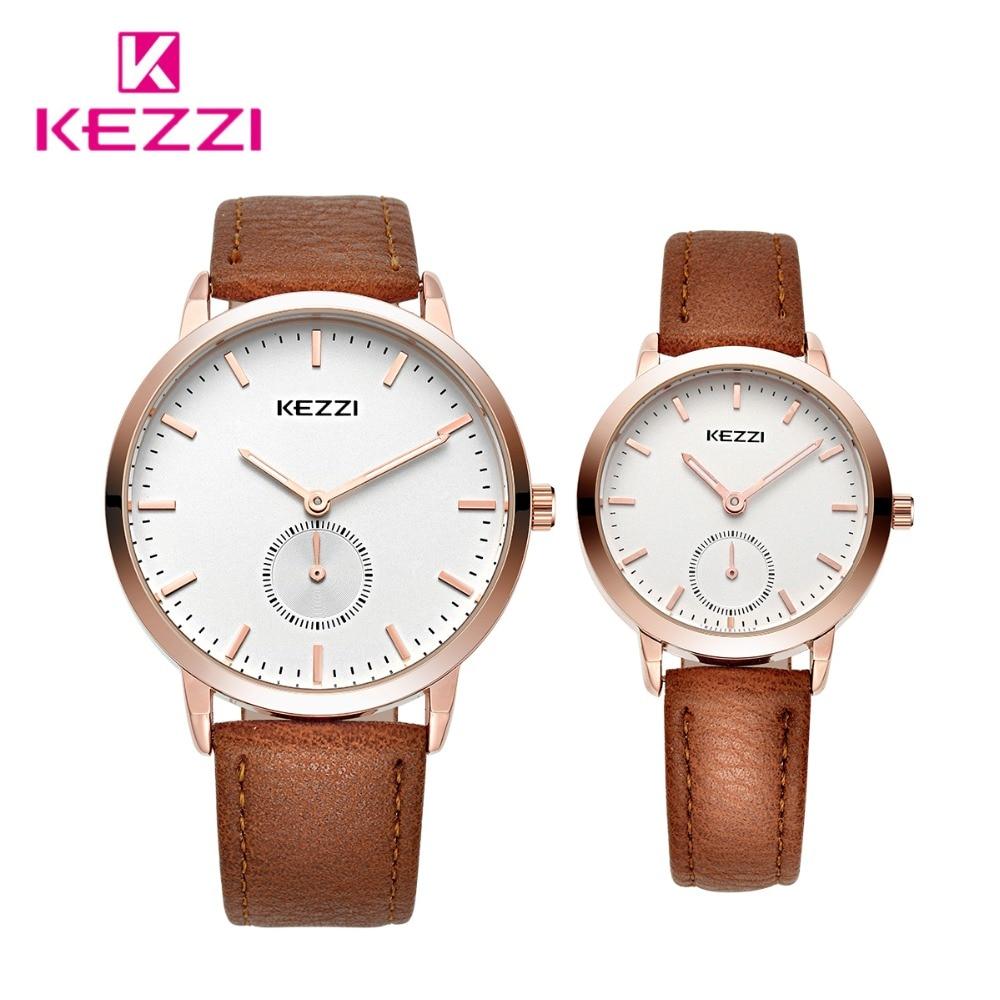 KEZZI брендовые кожаные мужские спортивные часы простые женские кварцевые часы для влюбленных Пара наручные часы Relogio Masculino с коробкой