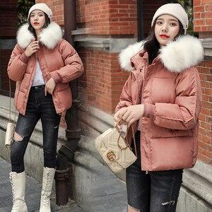 Image 4 - WXWT kışlık mont ceket parkas 2020 yeni kadın moda büyük kürk yaka kapşonlu kalın pamuk aşağı ceket rusça kış ceket
