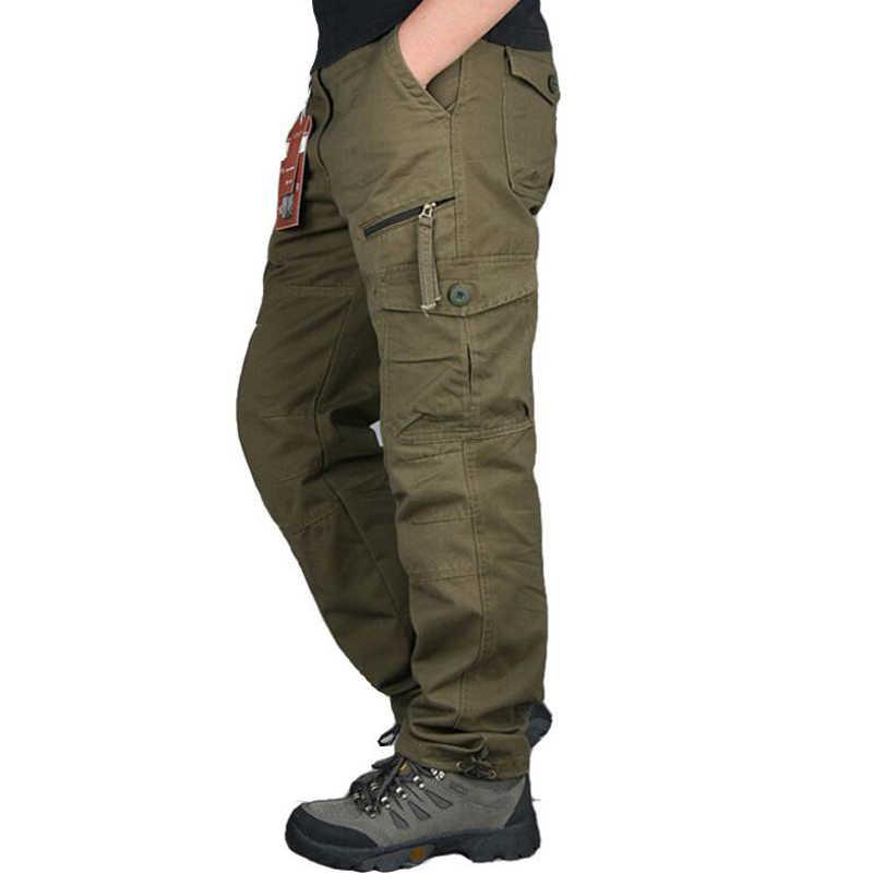 Pantalones Cargo Rectos Con Bolsillos Para Hombre Pantalones Largos Ropa De Calle Para Hombre Pantalones Tacticos De Pista Militar Pantalones Informales Aliexpress