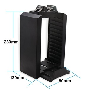 Image 5 - For PS4 Game Storage Tower Console Holder Stand with Dual Charger Dock for Dualshock 4 Controller Charging Dock Stores 12 Games