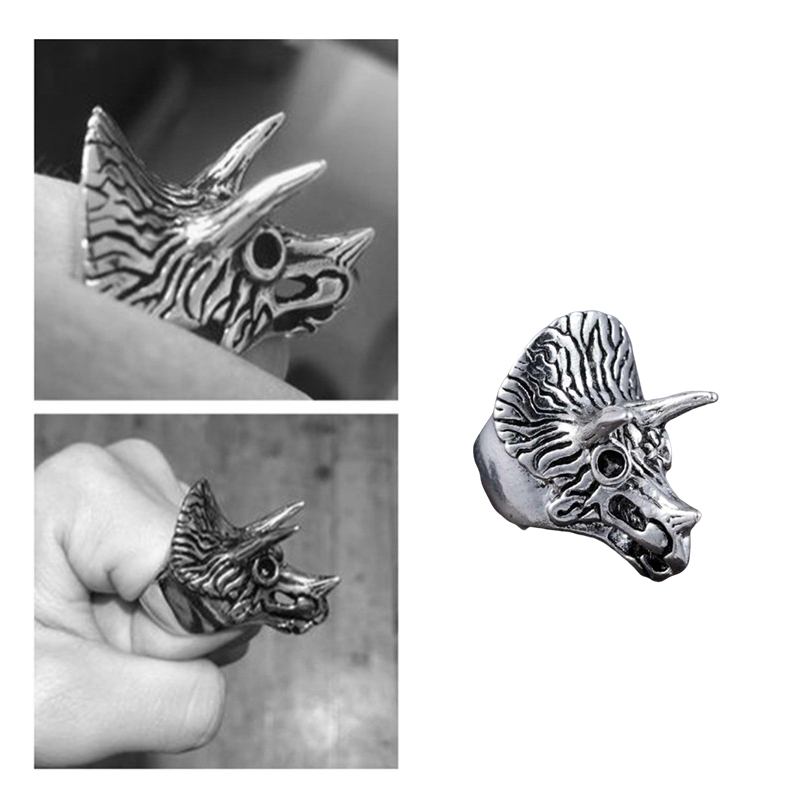 Titanium Steel Personal Triceratops Self Defense Ring Unisex Punk Anti-wolf Finger Ring Vintage Wolf Rings Gift Safety Tool
