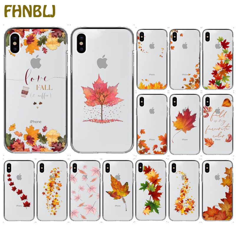 FHNBLJ Autumn falling leaves maples Transparent Soft Shell Phone Cover for iPhone 11 pro XS MAX 8 7 6 6S Plus X 5 5S SE XR cover
