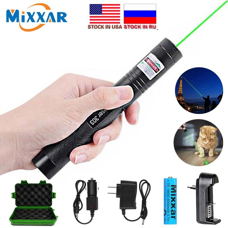 ZK20 Laser pointer Military 532nm 5mw 303 Grün Laser Verde Stift Laser Pointer Brennen laser Strahl + 18650 Batterie lager in UNS, RU