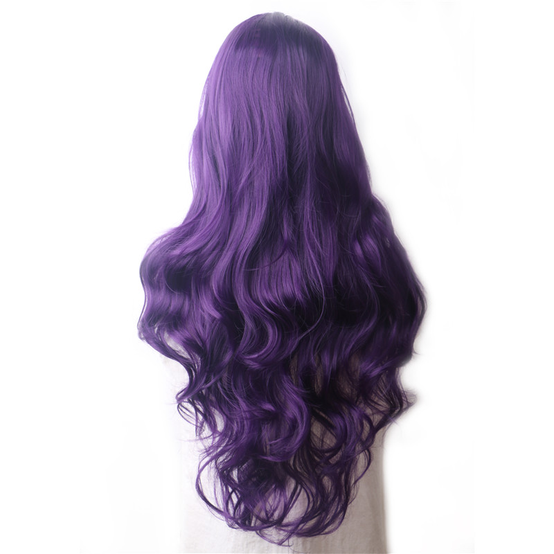 WoodFestival Wavy Purple Colored Synthetic Wigs For Women Heat Resistant Female Ombre Green Pink Red Blue Blonde Long Hair Wig