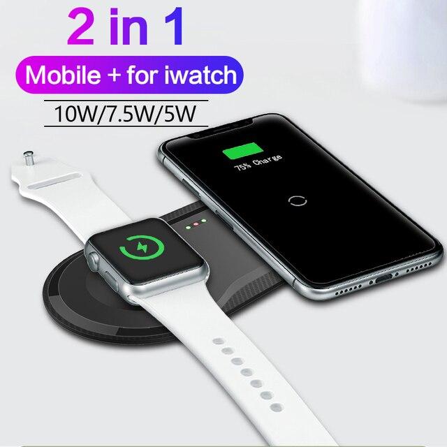 2 in 1 Wirless Snel Opladen Pad Voor Samsung S9 S8 S10 Plus Note 7 8 iPhone 11 X Mobiele qi Draadloze Oplader Voor Iwatch 4 3 2 1