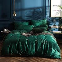 Luxury Green Little bees print Long Staple Egyptian cotton fabric bedding set Queen Size duvet cover set flat sheet pillowcase
