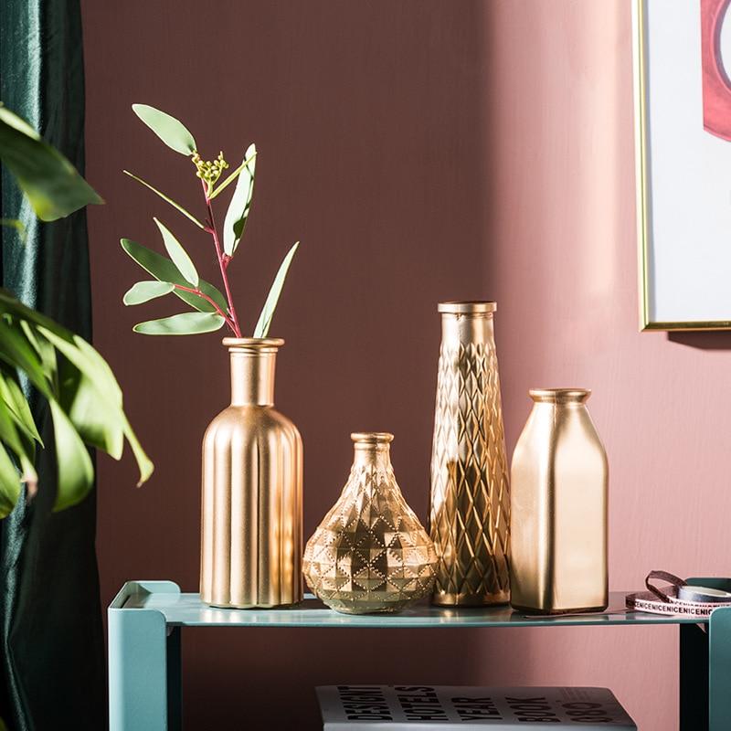 Golden Glass Vase Home Decoration Flower Pot Room Decoration Flower Arrangement Glass Container Wedding Decoration European