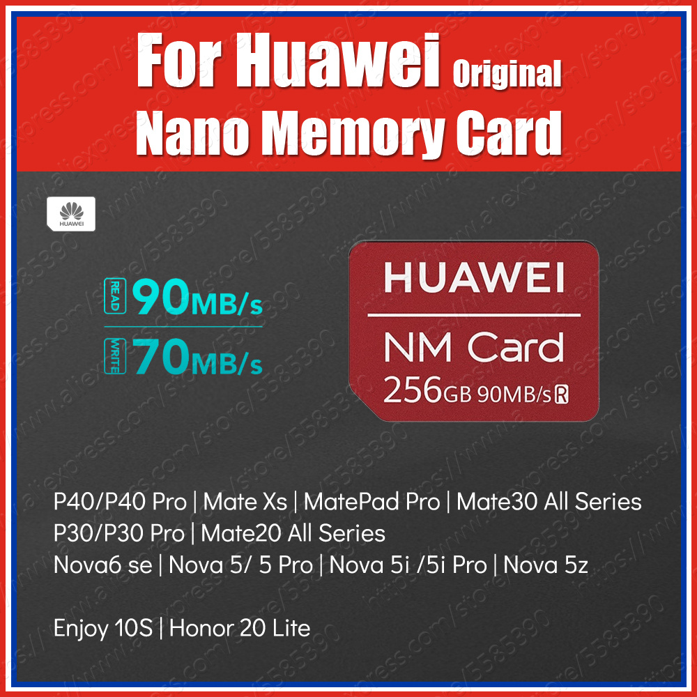 Original Huawei NM Card Nano Memory Card Reader 256GB P40 Pro P40 Lite MatePad Pro P30 Pro Mate20 Pro Mate30 Pro Nova 6 Se 5 Pro
