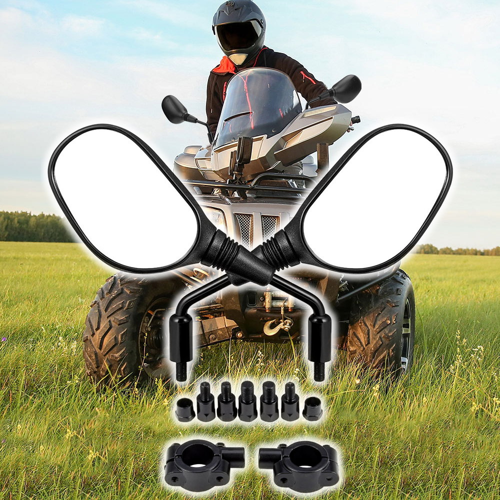 "ATV Universal Rear View Mirrors W/ 7/8"" Handlebar Mounts For Polaris Sportsman  400 500 850 For Can-Am DS250 For Yamaha FZ-8"