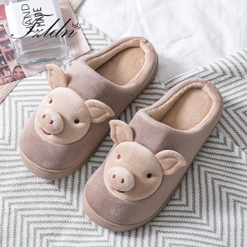 TZLDN 2019 Men Autumn Winter Slippers Flannel Warm Flat Slippers  Cartoon Pig Shape Cotton Shoes Non-Slip Indoor Plush Slippers