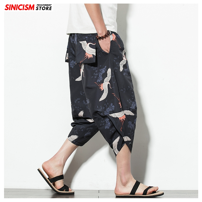 Sinicism Store Men 2020 Chinese Style Cross Pants Men's Printed Summer Casual Trousers Male Loose Calf-length Pant Oversized 5XL